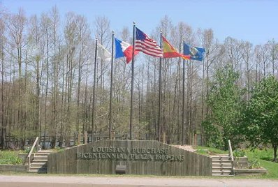 Louisiana Purchase Flag Plaza on Hwy 65 in Lake Providence, Louisiana